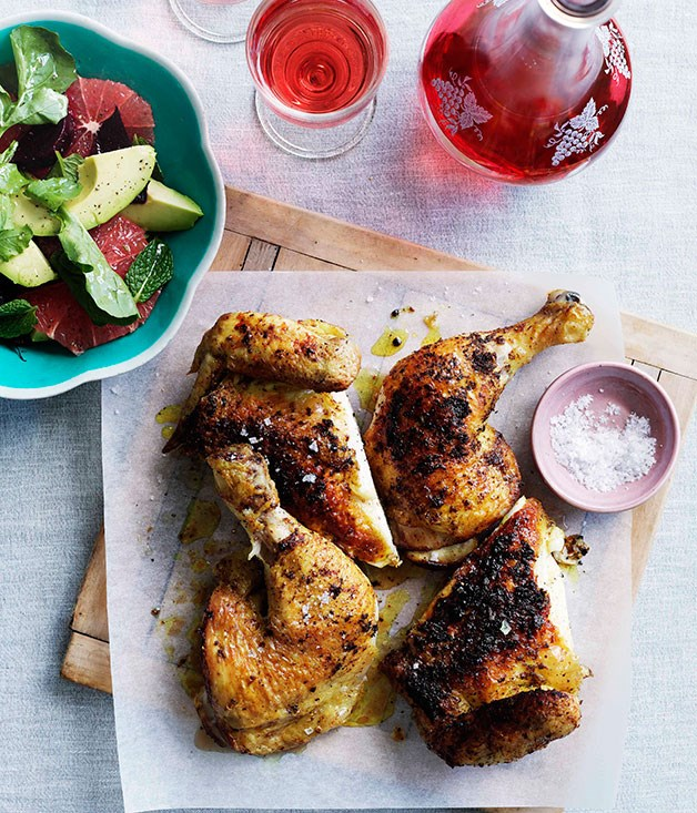 **Spice-rubbed chicken and rosé**