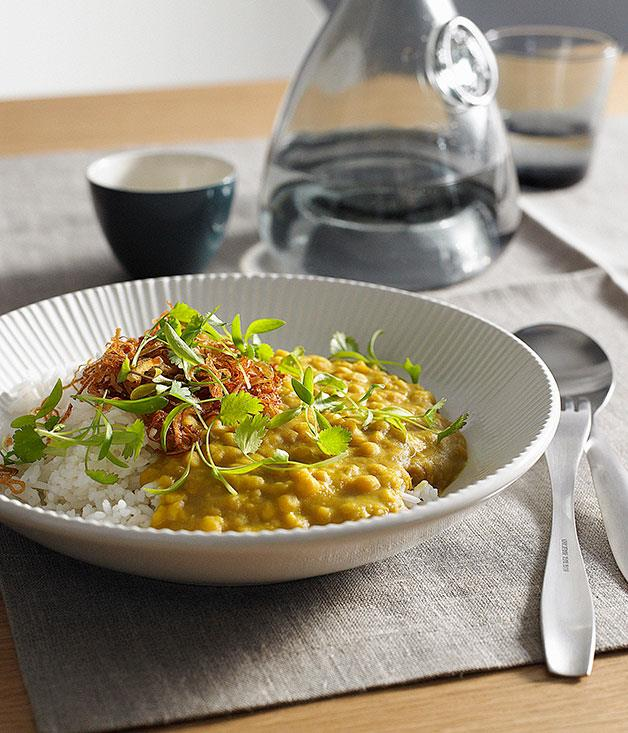 """[**Dhal with coriander and fried onion**](https://www.gourmettraveller.com.au/recipes/browse-all/dhal-with-coriander-and-fried-onion-14067