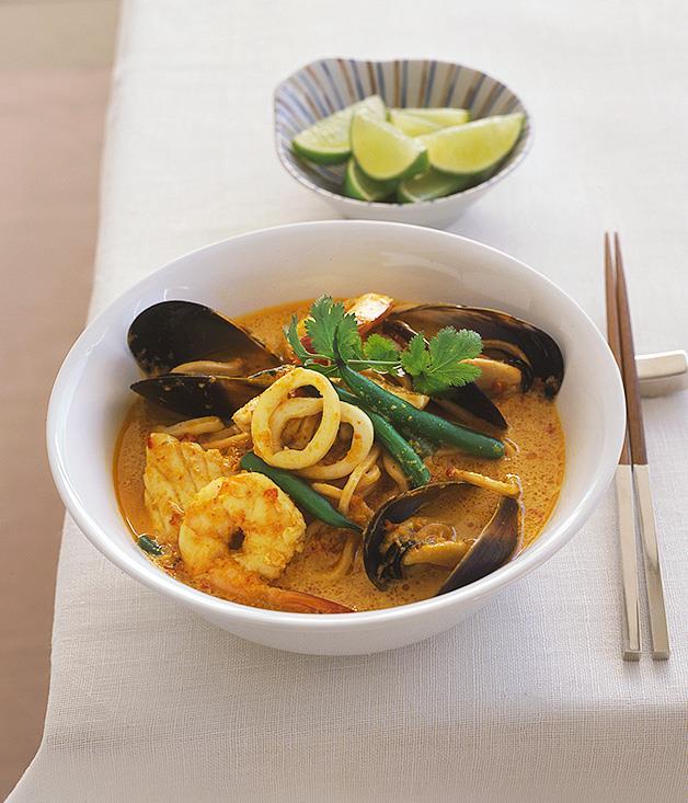 "**[Fast laksa lemak](https://www.gourmettraveller.com.au/recipes/fast-recipes/laksa-lemak-9499|target=""_blank"")**"