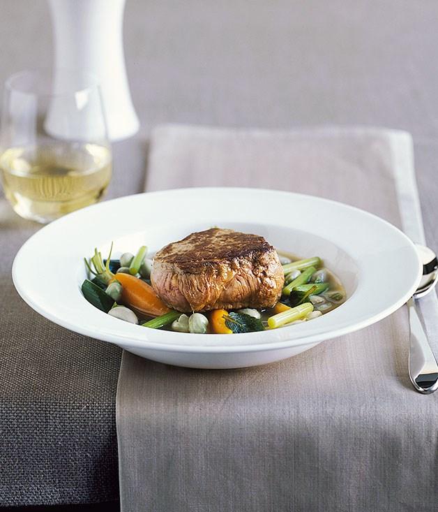 Veal fillet with spring vegetables