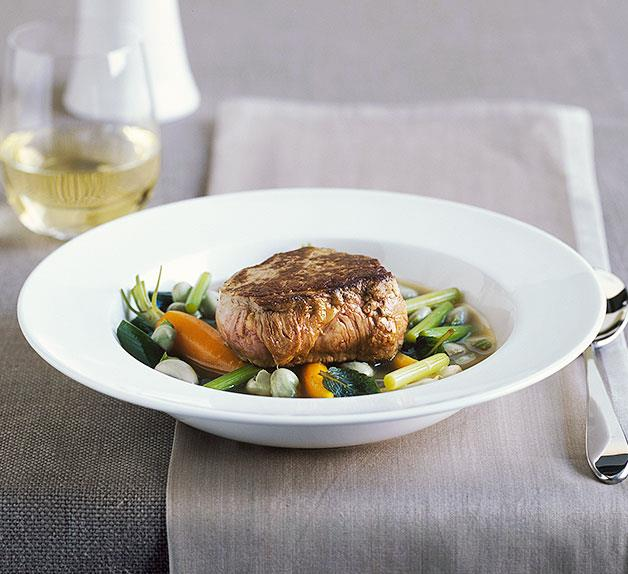 Veal fillet with spring vegetables