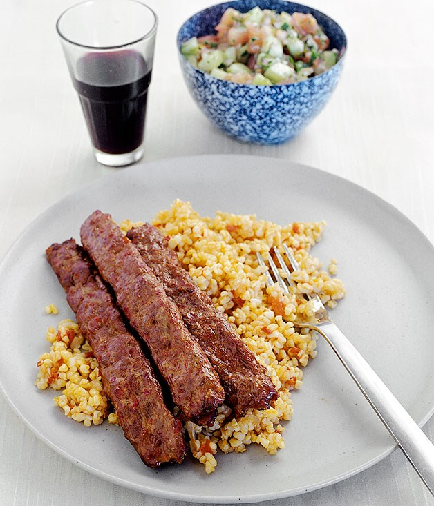 Burghul pilaf (pictured with Adana kofte)