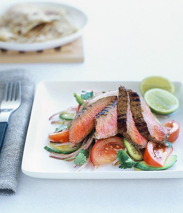 "[**Goan masala lamb with kachumber salad**](https://www.gourmettraveller.com.au/recipes/fast-recipes/goan-masala-lamb-with-kachumber-salad-9428|target=""_blank"")"