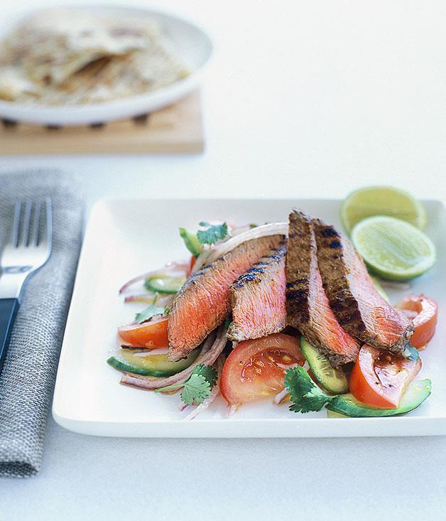 "[**Goan masala lamb with kachumber salad**](https://www.gourmettraveller.com.au/recipes/fast-recipes/goan-masala-lamb-with-kachumber-salad-9428 target=""_blank"")"