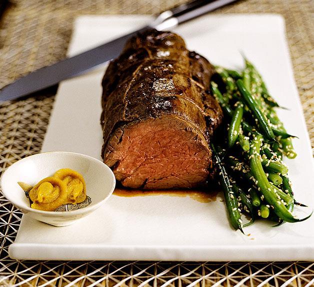 Japanese mustard-miso roasted beef fillet