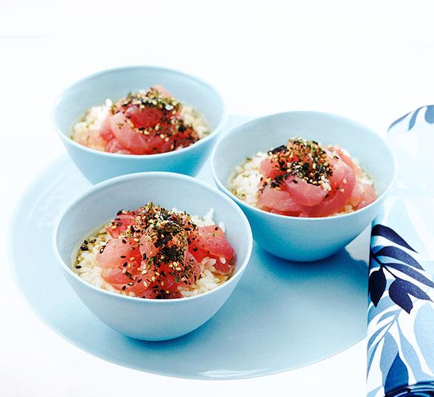 Green tea and tuna rice