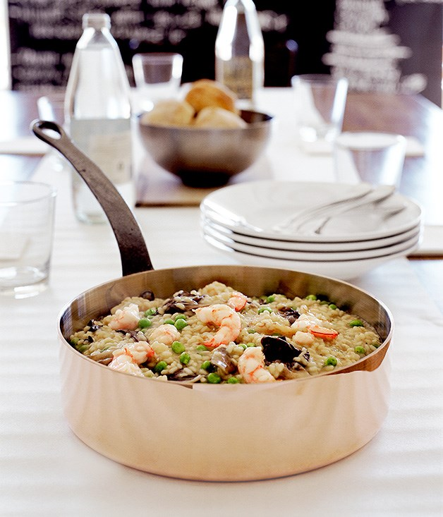 Prawn risotto with sweet spring peas and treviso radicchio