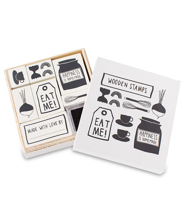 "**** Everything's coming up edible in [Kikki.K](http://www.kikki-k.com/ ""Kikki.K"")'s stationery range, ""Let's Eat"", from recipe books and meal planners to cards, shopping lists and sticker books. The wooden stamp set pictured here is $19.95."