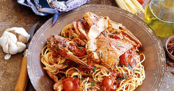 Spaghetti And Crab Recipe Spaghetti Con Granchi Recipe Pasta Recipe Gourmet Traveller Recipe Gourmet Traveller