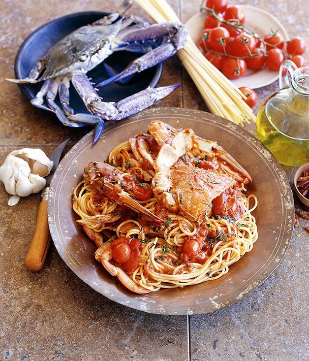 """**[Spaghetti with crab and tomato](https://www.gourmettraveller.com.au/recipes/fast-recipes/spaghetti-and-crab-9449