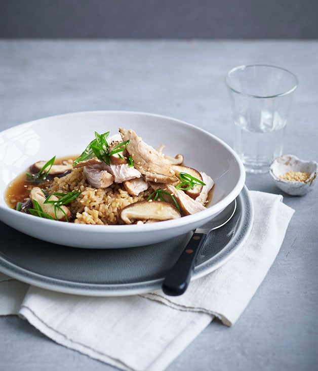 Soy-poached chicken, brown rice and shiitake mushrooms