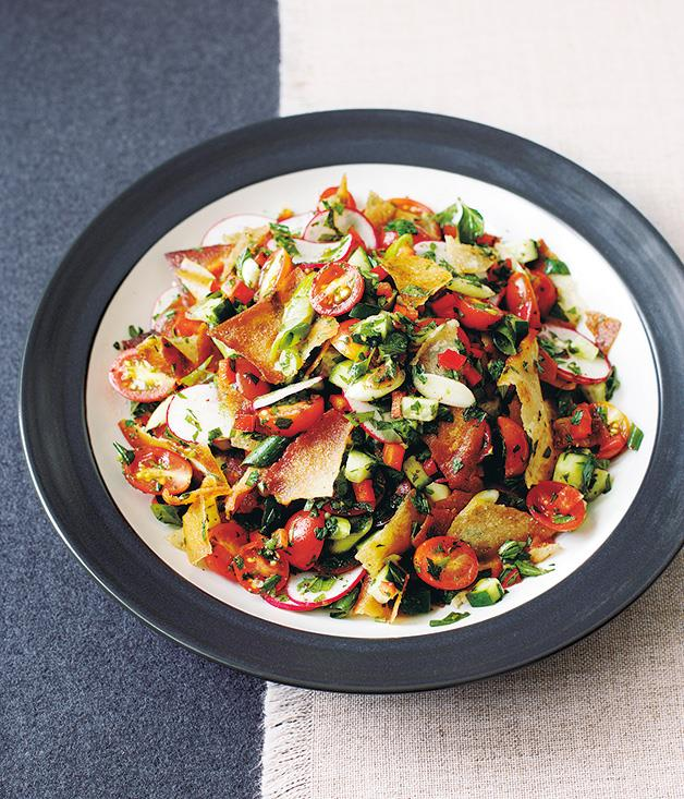 "**[Fattoush](https://www.gourmettraveller.com.au/recipes/fast-recipes/fattoush-9484|target=""_blank""
