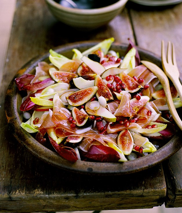 """[Fig, prosciutto, pear and witlof salad with pomegranate vinaigrette](http://www.gourmettraveller.com.au/recipes/fast-recipes/fig-prosciutto-pear-and-witlof-salad-with-pomegranate-vinaigrette-9487