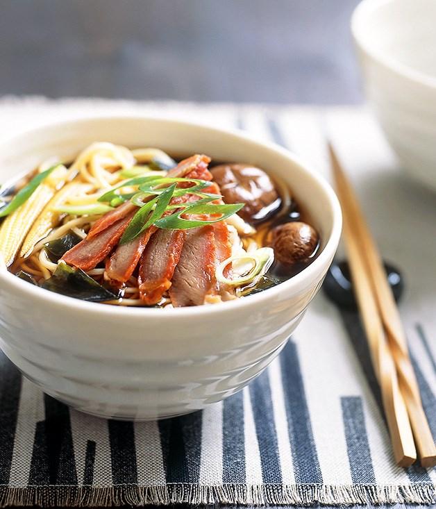 "**[Crab, cha siu and corn ramen](https://www.gourmettraveller.com.au/recipes/fast-recipes/crab-cha-siu-and-corn-ramen-9501|target=""_blank"")**"