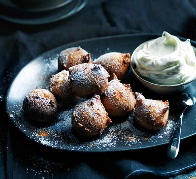 Sour cherry fritters with boozy mascarpone