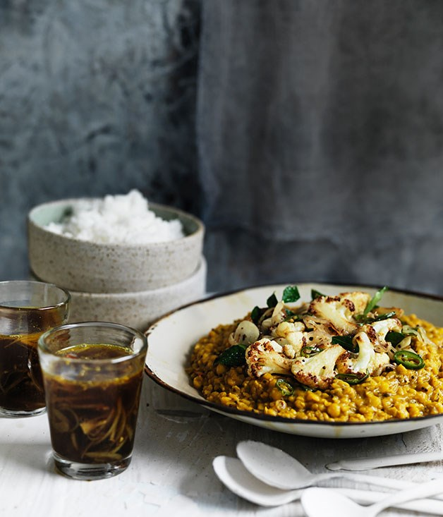 """[**Dhal with crisp cauliflower and rasam**](http://www.gourmettraveller.com.au/recipes/browse-all/dhal-with-crisp-cauliflower-and-rasam-11753 target=""""_blank"""")"""
