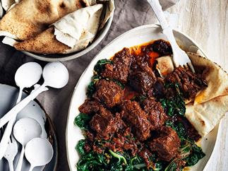 Berbere beef stew and spiced silverbeet