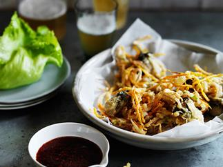 Oyster fritters with tamarind sauce