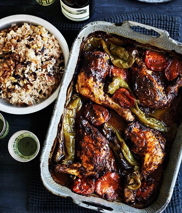 **Turkish-style roast chicken & rice pilav**