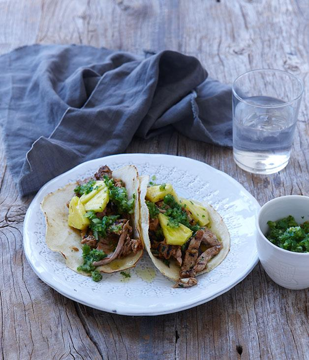 """[**Pork and pineapple tacos**](https://www.gourmettraveller.com.au/recipes/chefs-recipes/pork-and-pineapple-tacos-7901