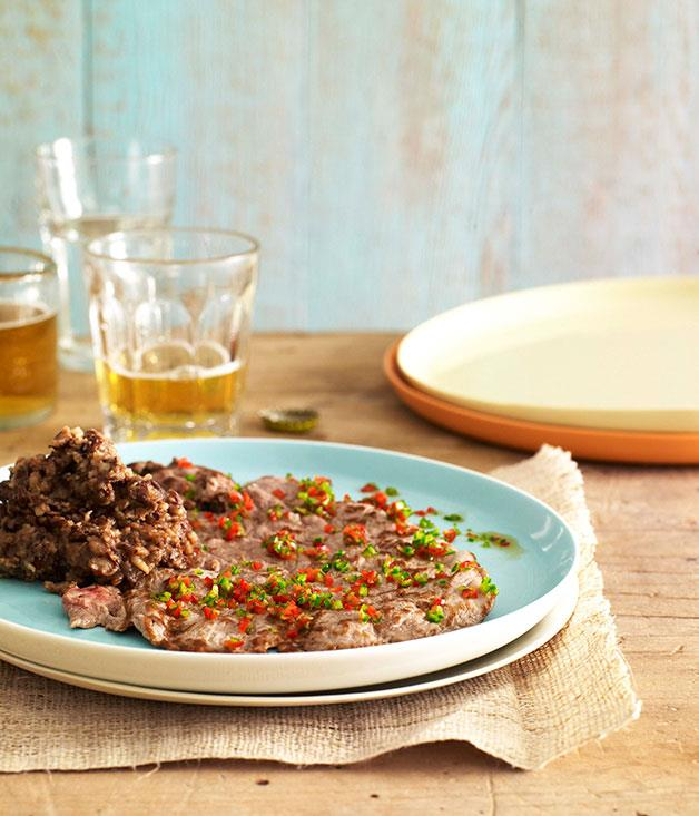 """[**La sabana with refried beans and mule-drivers' sauce**](https://www.gourmettraveller.com.au/recipes/browse-all/la-sabana-with-refried-beans-and-mule-drivers-sauce-10230