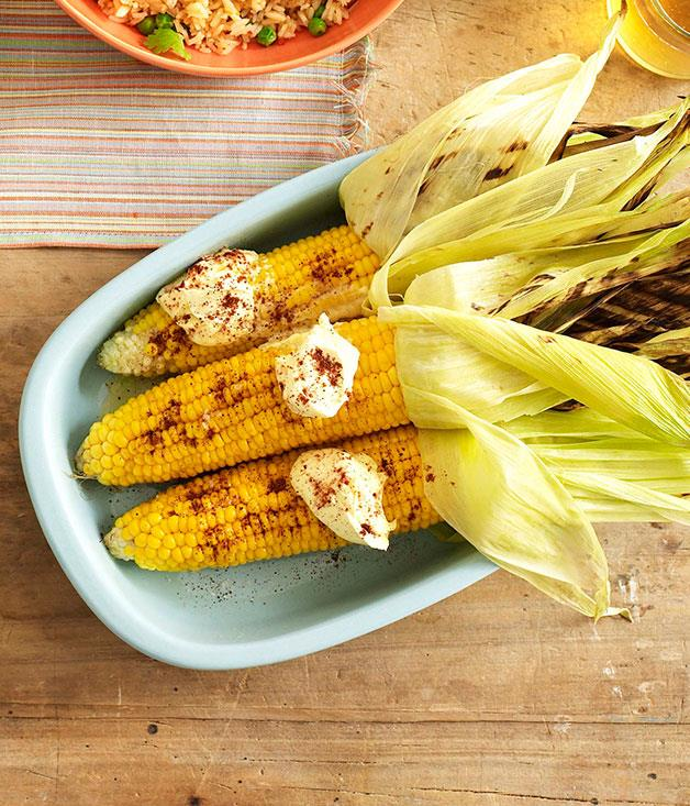 """[**Grilled corn with cream and chipotle chilli**](https://www.gourmettraveller.com.au/recipes/browse-all/grilled-corn-with-cream-and-chipotle-chilli-10224
