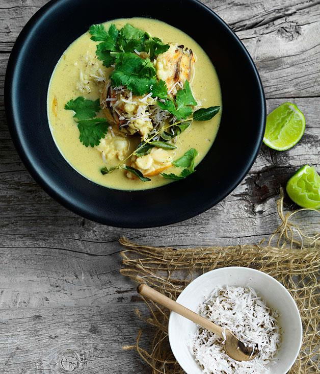 """[**Lobster in coconut broth with Indian aromatics**](https://www.gourmettraveller.com.au/recipes/browse-all/lobster-in-coconut-broth-with-indian-aromatics-11110