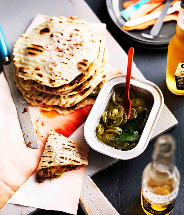 """[**Beef shin and cheddar mulitas with jalapeno escabeche**](https://www.gourmettraveller.com.au/recipes/browse-all/beef-shin-and-cheddar-mulitas-with-jalapeno-escabeche-11195