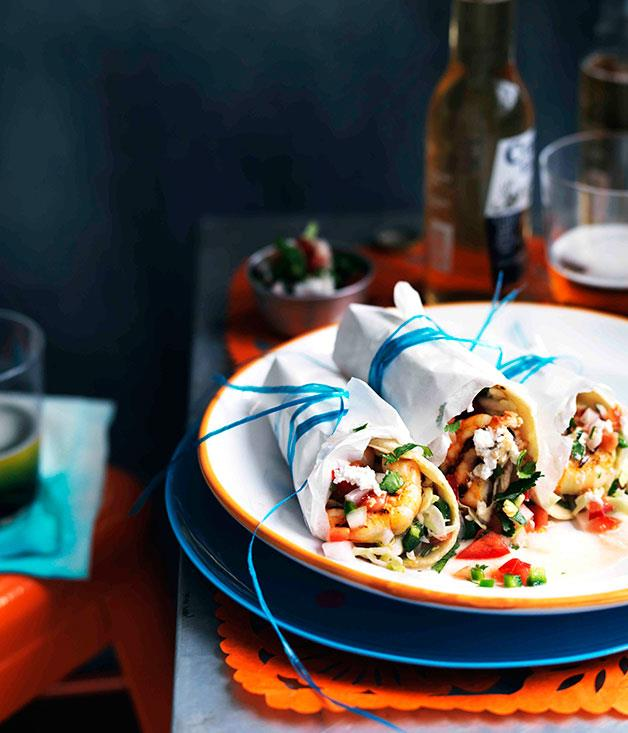 "[**Prawn, slaw and pico de gallo tacos**](https://www.gourmettraveller.com.au/recipes/browse-all/prawn-slaw-and-pico-de-gallo-tacos-11194|target=""_blank"")"
