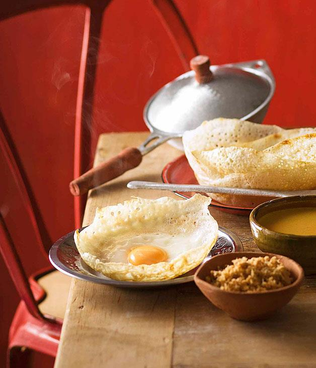 "[**Egg hoppers**](https://www.gourmettraveller.com.au/recipes/chefs-recipes/peter-kuruvita-egg-hoppers-7449 target=""_blank"")"