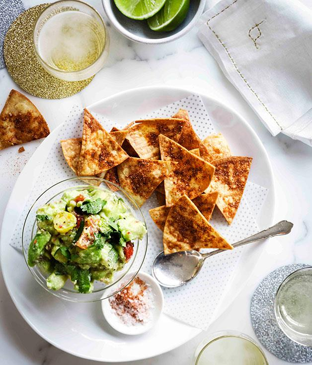 """[**Tostadas with rough guacamole and smoked paprika**](https://www.gourmettraveller.com.au/recipes/browse-all/tostadas-with-rough-guacamole-and-smoked-paprika-11190
