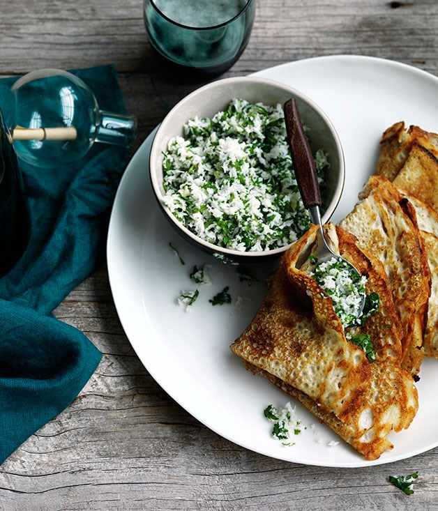"""[**Dosai with coconut, ginger and green chilli chutney**](https://www.gourmettraveller.com.au/recipes/browse-all/dosai-with-coconut-ginger-and-green-chilli-chutney-11107