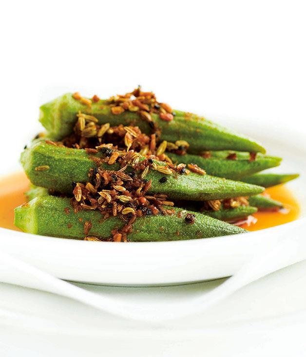 "[**Stuffed okra**](https://www.gourmettraveller.com.au/recipes/chefs-recipes/stuffed-okra-7284 target=""_blank"")"