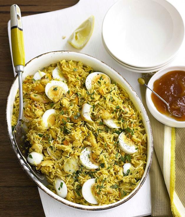 "[**Kedgeree**](https://www.gourmettraveller.com.au/recipes/browse-all/kedgeree-8687|target=""_blank"")"