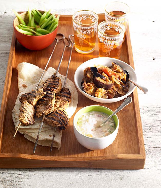 "[**Lamb tikka kebabs with spiced eggplant, tomato raita and cucumber salad**](https://www.gourmettraveller.com.au/recipes/browse-all/lamb-tikka-kebabs-with-spiced-eggplant-tomato-raita-and-cucumber-salad-10244 target=""_blank"")"