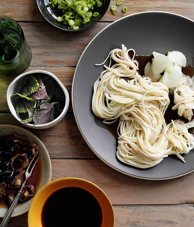 **Hiyamugi noodles with Japanese pickles**