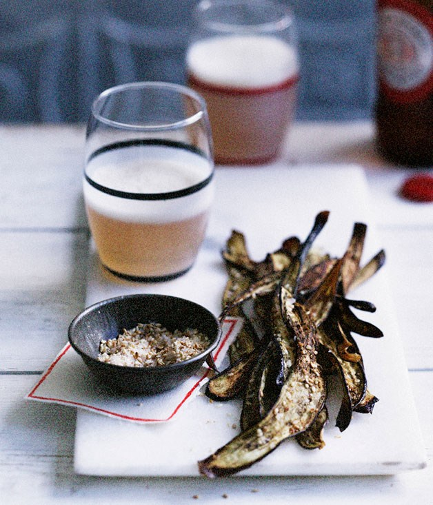 **Japanese eggplant chips with sesame salt**