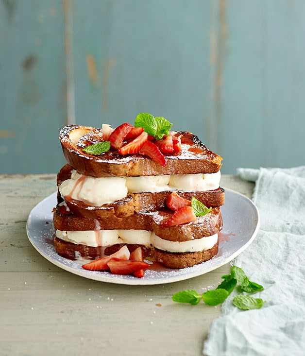**Ice-cream sandwiches with moscato-poached strawberries**