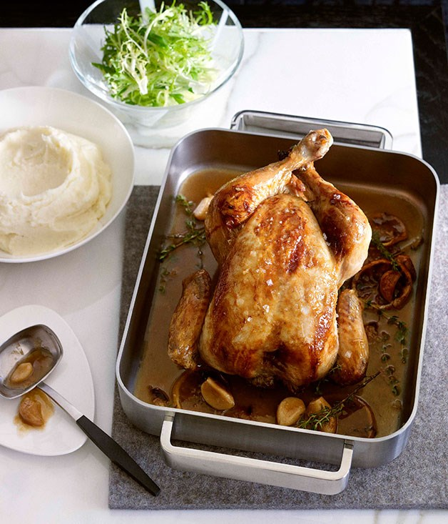 **Garlic and thyme chicken with mash**