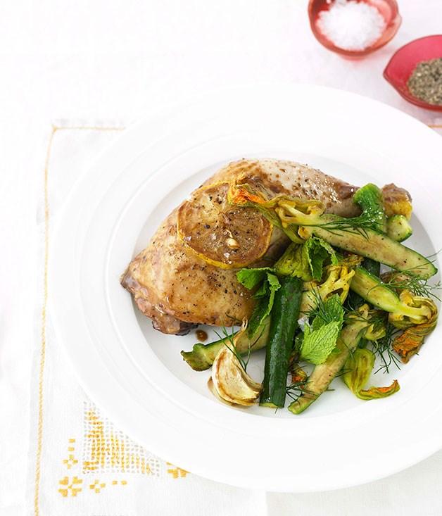 "[**Roast lemon chicken with warm zucchini flower salad**](https://www.gourmettraveller.com.au/recipes/fast-recipes/roast-lemon-chicken-with-warm-zucchini-flower-salad-13045|target=""_blank"")"
