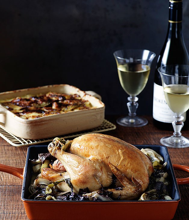**Chicken roasted with fennel, radicchio and cider with dauphinoise potatoes**