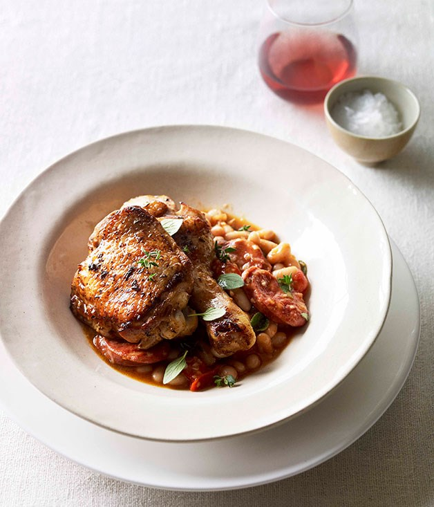 **Paprika roast chicken with chorizo and white beans**