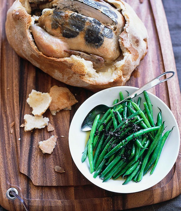 **Salt-baked truffled chicken with warm green bean and truffle salad**