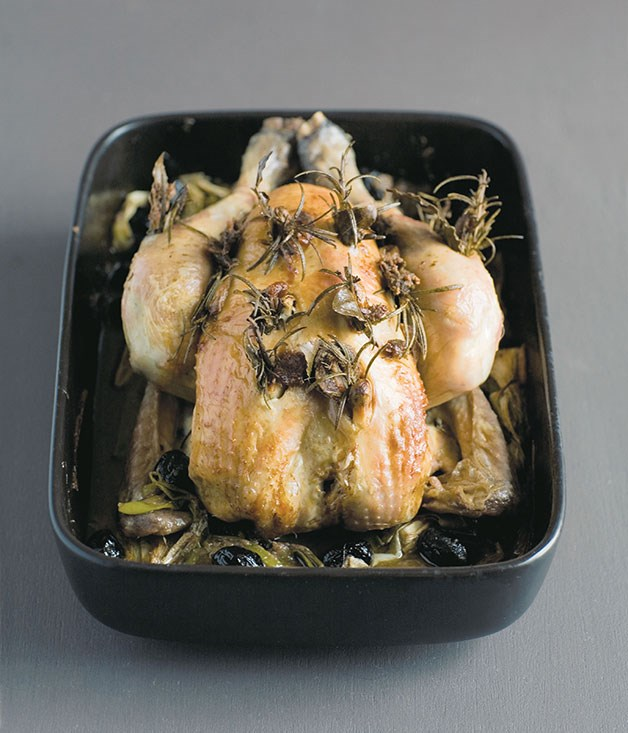 **Stéphane Reynaud: Poulet rôti aux anchois et au romarin (roast chicken with anchovies and rosemary)**