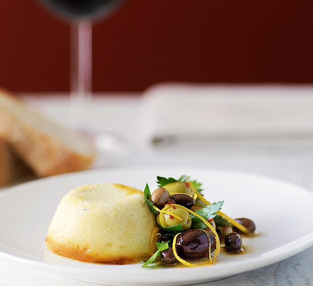 Baked ricotta with olive salad