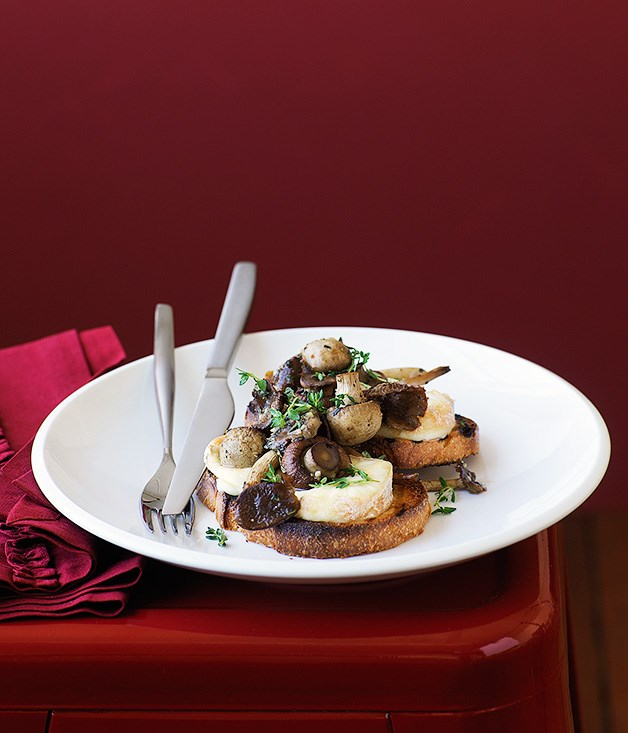 Mushroom and taleggio on bruschetta
