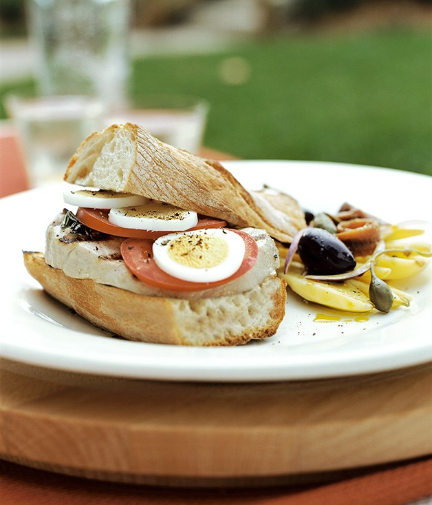 Niçoise sandwiches with potato, anchovy and caperberry salad