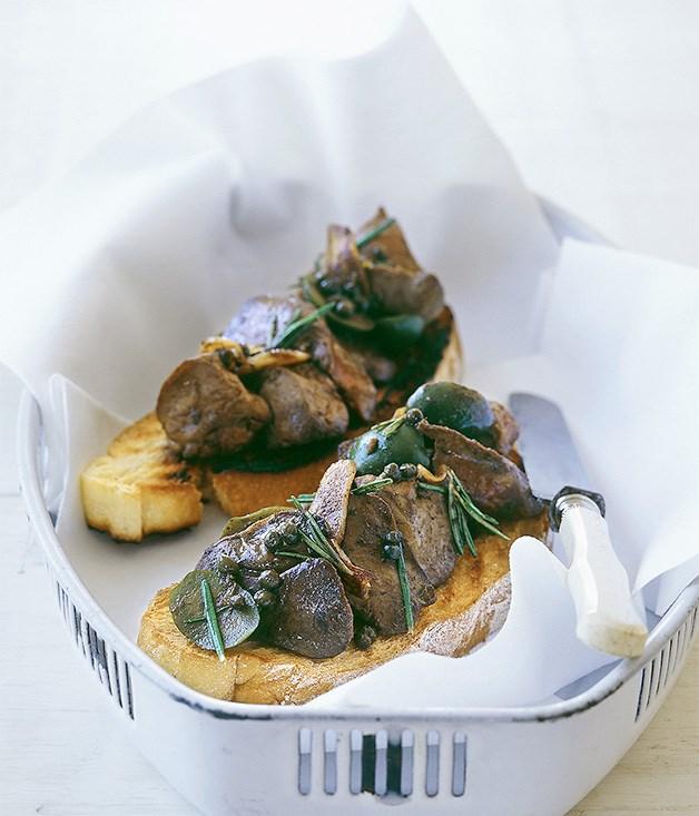 Chicken liver crostini