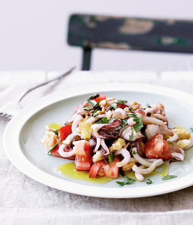 "**[Sicilian calamari salad](https://www.gourmettraveller.com.au/recipes/browse-all/sicilian-calamari-salad-14048|target=""_blank"")**"