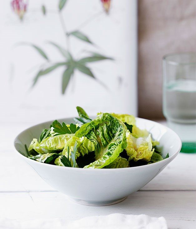 "**[Baby cos and herb salad with garlic vinaigrette](https://www.gourmettraveller.com.au/recipes/browse-all/baby-cos-and-herb-salad-with-garlic-vinaigrette-14049|target=""_blank"")**"